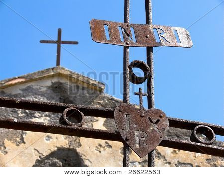"Maletto iron crosses rusty of the monk passionisti and their christian symbol with acronym ""inri"" ""jxp"""