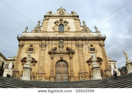 Modica the staircase of the baroque duomo of Santo Pietro