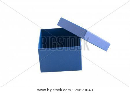 Box of blue cardboard wrapping little object
