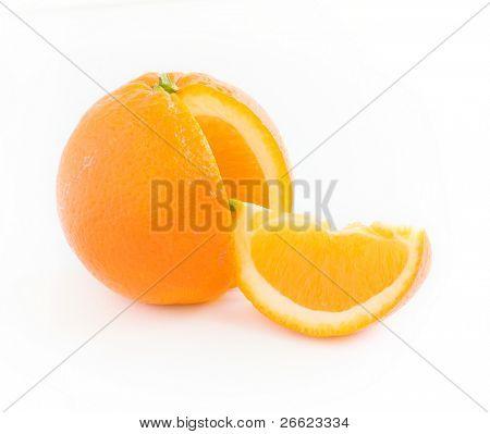 slice and orange citrus isolated on white background