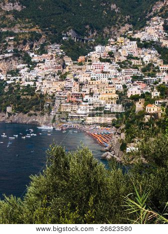 the coast and the sea of the village of Positano
