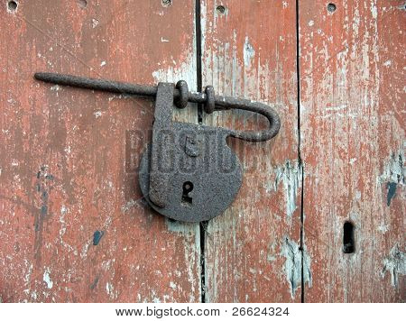 Closeup of an old padlock