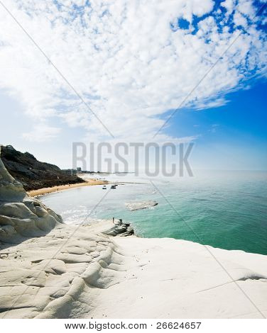 seascape of bay with white rock