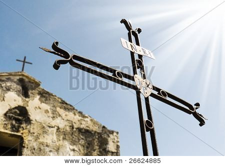 ruins of small church and a iron crosses