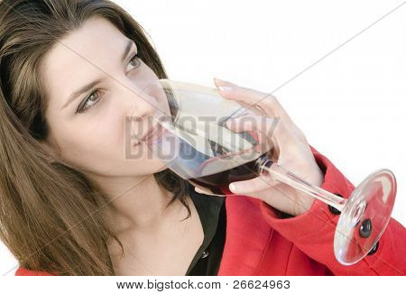 a beautiful woman with glass red wine