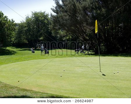 group golfers walking on beautiful golf club flag