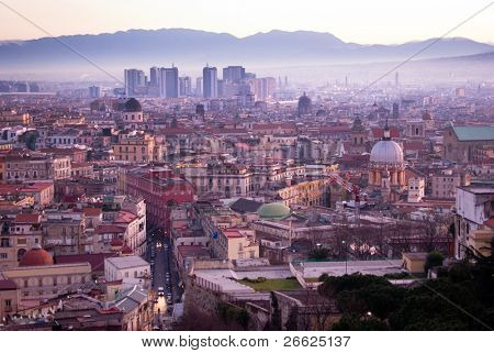 panorama on city Naples's at sunrise (directional center) photographed by Vomero