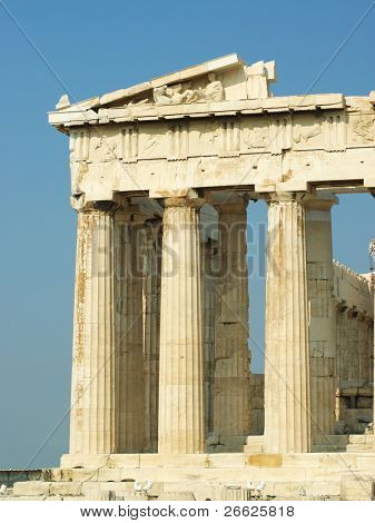 the Parthenon on Acropolis in the city of Athens