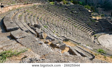 Audience Seats in a Greek Theatre in oracle Delphi