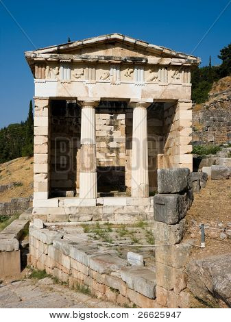 The reconstructed Temple of Treasury of the Athenians of Sanctuary of Apollo in oracle Delphi, Greece.