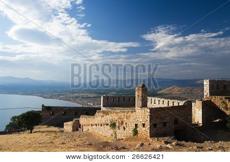 the ruins of fortress of Palamidi in Nauplion, Greece