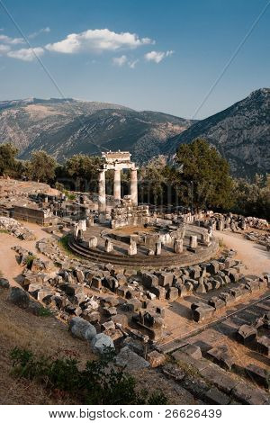 Tholos of temples circular of Sanctuary of Athena Pronaia of oracle delphic, Greece