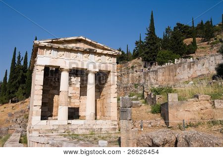 The reconstructed Temple of Treasury of the Athenians of Sanctuary of Apollo in oracle Delphi, Greece