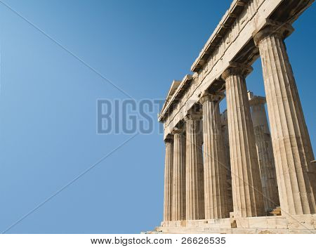 the temple of Parthenon on Acropolis in the city of Athens, Greece