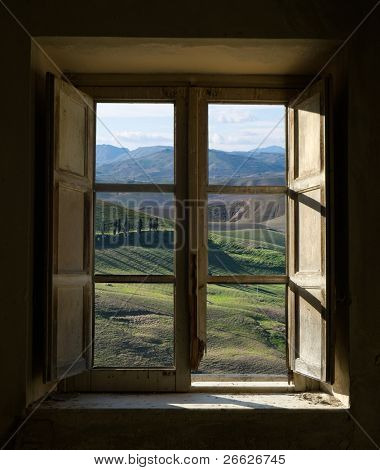 outside view of cypress trees and green hills through a shabby windows