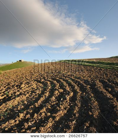 ploughed field and rural hut against cloudy sky