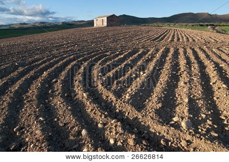 red furrows of a ploughed field and rural hut