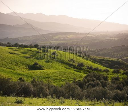 sicilian farmland with green pasture and layered landscape at the evening
