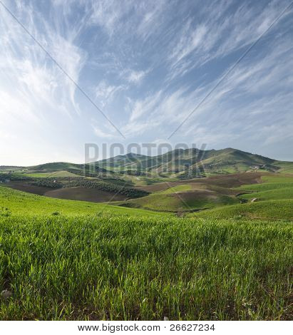 slope grassy on sicilian hinterland hills