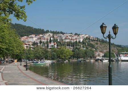 the idyllic lake and the village of Kastoria in Macedonia, Greece