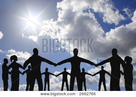 People Circle Group On Cloud Sunny Sky