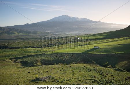 wide rural landscape and snowy volcano etna at first morning light