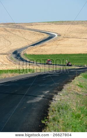 a winding road crosses the countryside in central Turkey