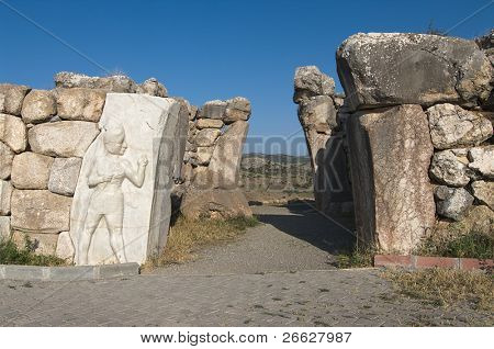the King Gate (Kral Kapi) with high relief of warrior god in excavations at Hattusha, Turkey