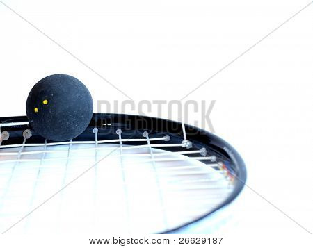 Squash racket with a ball