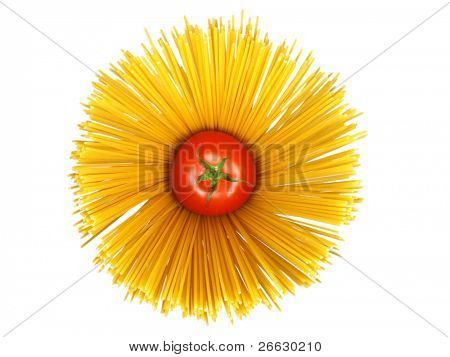 Spaghetti with tomato on white background