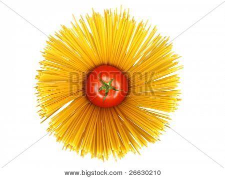 Spaghetti with tomato on white background