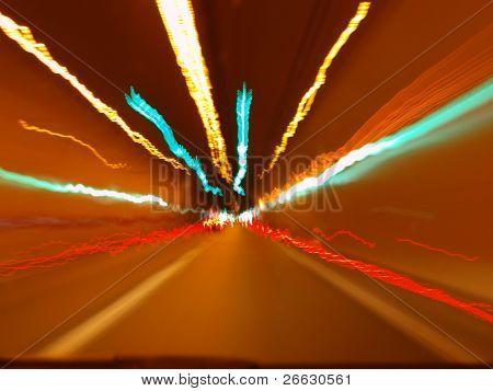 Car running in tunel, long exposition