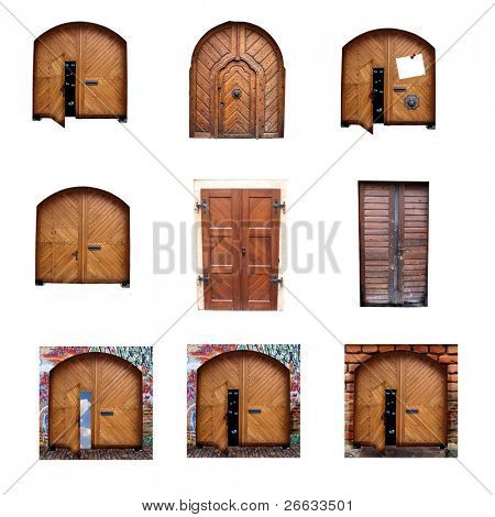 Collection of old massive doors