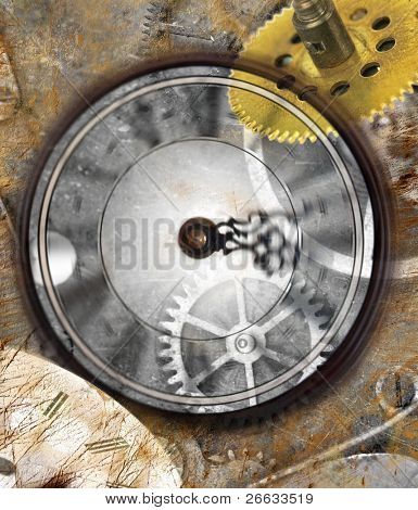 Grunge clock background with time machines tools and motion clock effect