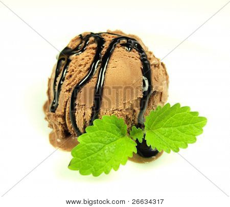 Ice cream chocolate scoop with chocolate glaze isolated on white background