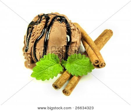 Ice cream chocolate scoop with chocolate glaze and cinnamon isolated on white background