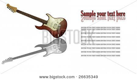Electric guitar with reflection isolated on white background