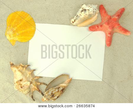 Holiday beach concept with blank postcard