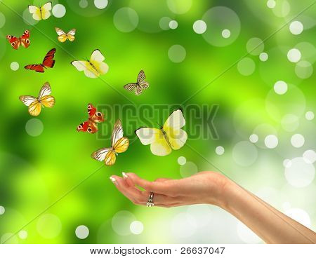 Woman hand releasing butterflies