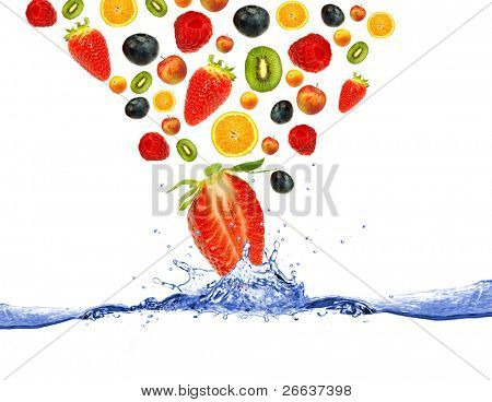 Fruit falling down to the water