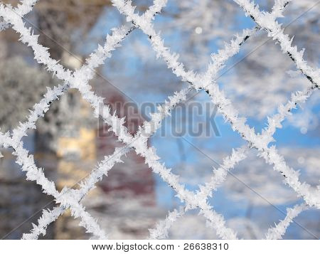 Macro shot of ice fence grid