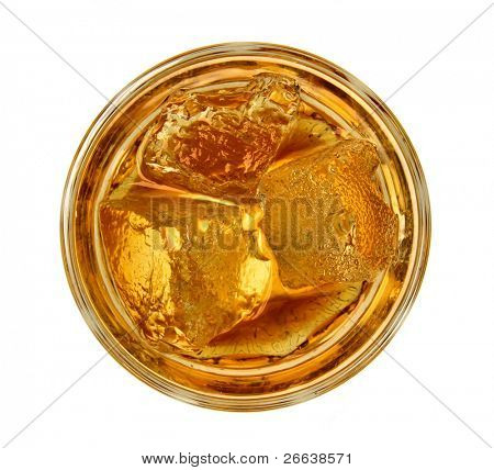 Glass of whiskey, top view