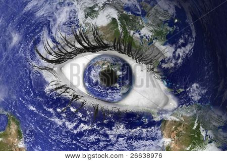WOrld map with eye