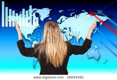 Businesswoman with hands in the air, looking at economic theme in the World