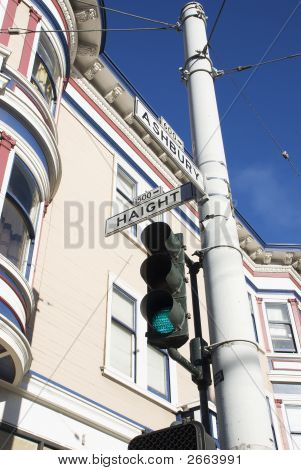 Haight Street Sign & Victorian