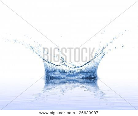 Water splash on white background