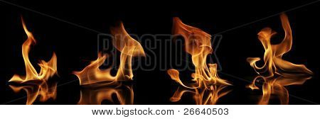 High resolution fire collection of soft flames with reflection.Isolated on black background