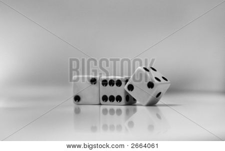 Dice With Reflection In Black And White