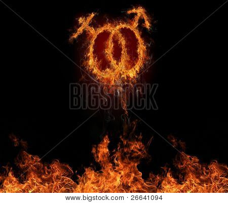 Burning male and female symbols, flying off fire wall.Symbol of love