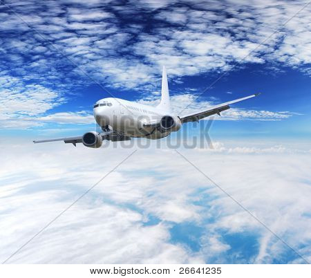 Airplane above clouds